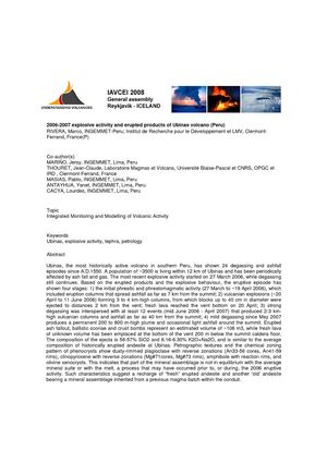 The 2006-2007 explosive activity and erupted products of Ubinas volcano (Peru)