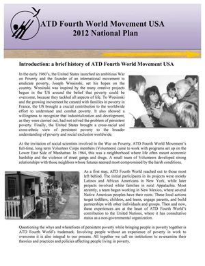 ATD Fourth World Movement USA 2012 National Plan