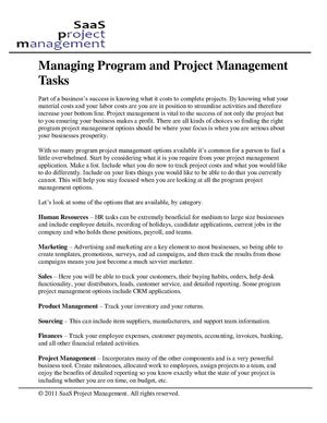 Managing Program and Project Management