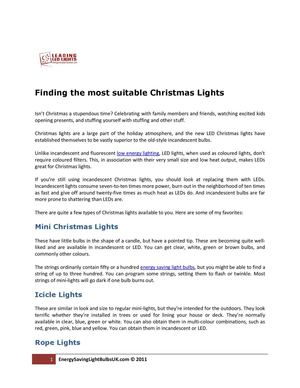 Finding the most suitable Christmas Lights