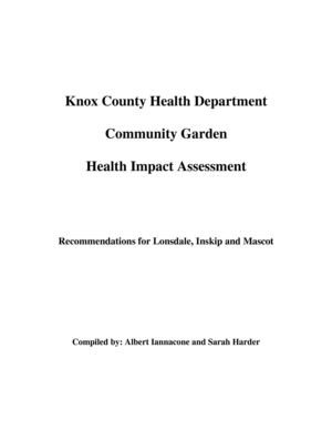 Community Garden Health Impact Assessment - Knox County Health Department
