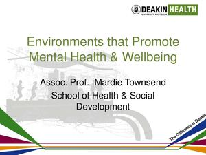 Environments that Promote Mental Health and Wellbeing
