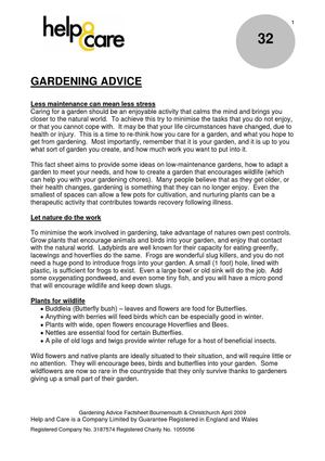 Gardening Advice Factsheet  for Older People - Help and Care
