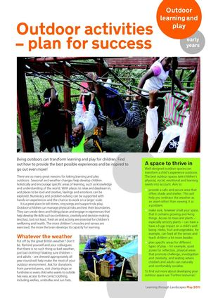 Outdoor Activities, Plan for Success: Early Years Outdoors Learning