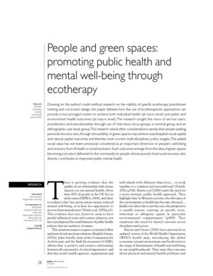 People and Green Spaces: Promoting Public Health And Mental Well-Being Through Ecotherapy