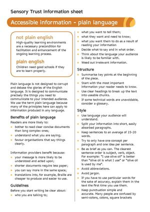Plain Language - Sensory Therapy Gardens Fact Sheet