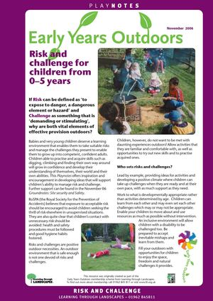 Risk and Challenge for Children from 0-5 Years: Outdoor Learning and Play