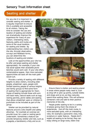 Seating and Shelter - Sensory Therapy Gardens Fact Sheet