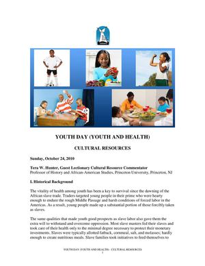Youth and Health: Cultural Resources