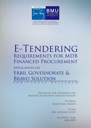E-Tendering Requirements for MDB Financed Procurement - Application on Erbil Governorate & BRAVO Solution