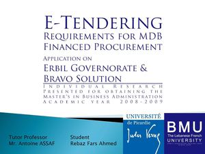Slids of E-Tendering Requirements for MDB Financed Procurement - Application on Erbil Governorate & BRAVO Solution