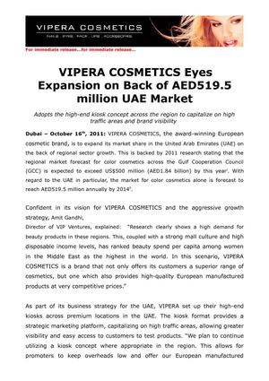 VIPERA COSMETICS Eyes Expan-sion on Back of AED519.5 million UAE Market