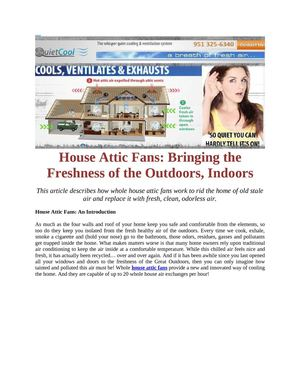 House Attic Fans: Bringing the Freshness of the Outdoors, Indoors