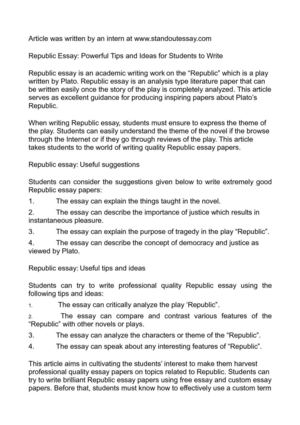 Republic Essay: Powerful Tips and Ideas for Students to Write