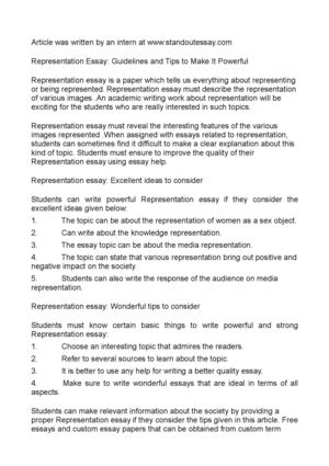 Representation Essay: Guidelines and Tips to Make It Powerful