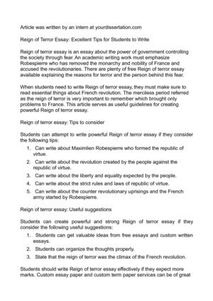 Reign of Terror Essay: Excellent Tips for Students to Write