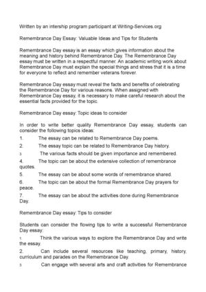 Remembrance Day Essay: Valuable Ideas and Tips for Students