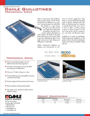 Dahle 534 Guillotine Paper Cutter Spec Sheet
