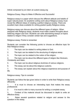 Calamo  Religious Essay Ways To Make It Effective And Successful Religious Essay Ways To Make It Effective And Successful