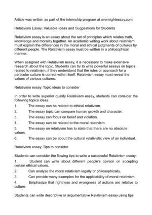 Relativism Essay: Valuable Ideas and Suggestions for Students