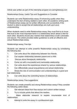 Relationships Essay: Useful Tips and Suggestions to Consider