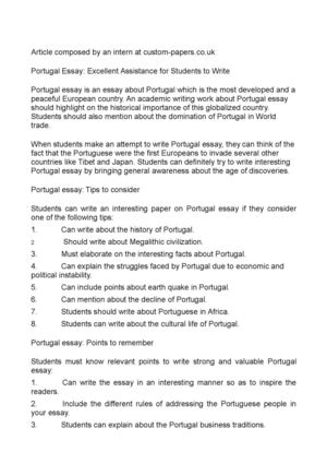 Portugal Essay: Excellent Assistance for Students to Write