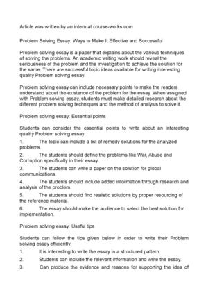 Problem Solving Essay: Ways to Make It Effective and Successful