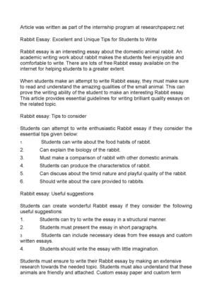 Rabbit Essay: Excellent and Unique Tips for Students to Write
