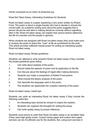 Road Not Taken Essay: Interesting Guidelines for Students