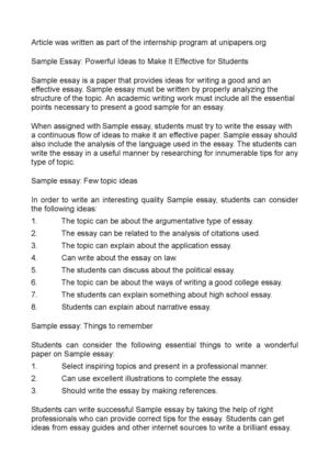 Sample Essay: Powerful Ideas to Make It Effective for Students