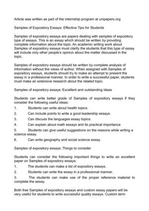 Samples of Expository Essays: Effective Tips for Students