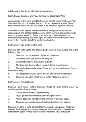 Calamo  Sartre Essay Excellent And Powerful Help For Students To  Sartre Essay Excellent And Powerful Help For Students To Write