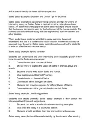 Calam o satire essay example excellent and useful tips for students