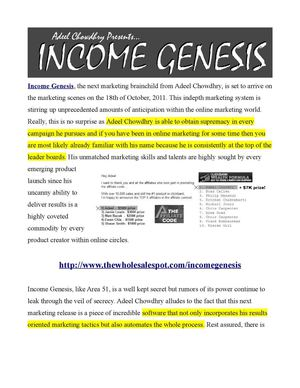 Income Genesis Marketing System from Adeel Chowdhry