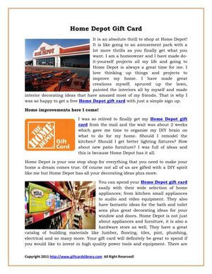 Home Depot Gift Card Get Easy