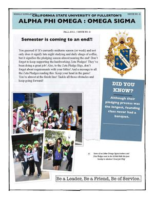 Omega Sigma's Weekly Newsletter: Issue 9