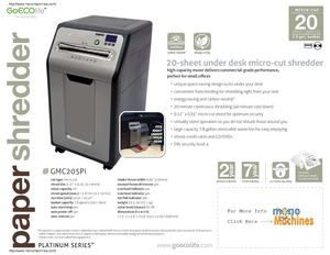 GoECOlife GMC205Pi 20-Sheet Micro-Cut Green Commercial Shredder Spec Sheet
