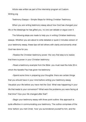 Calaméo - Testimony Essays – Simple Steps for Writing Christian ...