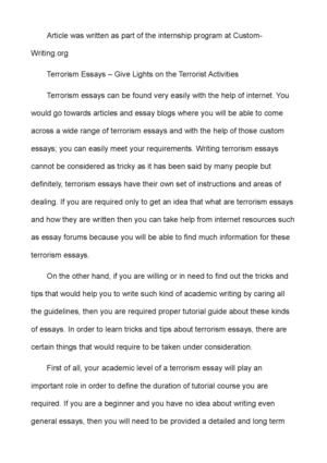 High School Essay Sample Terrorism Essays  Give Lights On The Terrorist Activities Health Essays also Essay On Business Communication Calamo  Terrorism Essays  Give Lights On The Terrorist Activities My Mother Essay In English