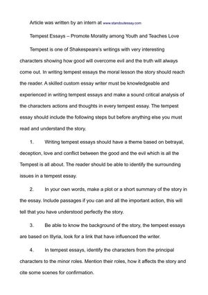 Thesis Argumentative Essay Tempest Essays  Promote Morality Among Youth And Teaches Love English Essay My Best Friend also Sample Of English Essay Calamo  Tempest Essays  Promote Morality Among Youth And Teaches Love Health Is Wealth Essay