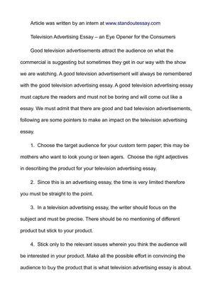 Calamo  Television Advertising Essay  An Eye Opener For The Consumers Television Advertising Essay  An Eye Opener For The Consumers