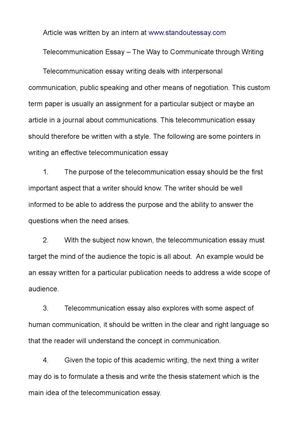 Synthesis Essays Telecommunication Essay  The Way To Communicate Through Writing Health And Fitness Essay also Thesis Statement For Descriptive Essay Calamo  Telecommunication Essay  The Way To Communicate Through  Science And Technology Essay Topics