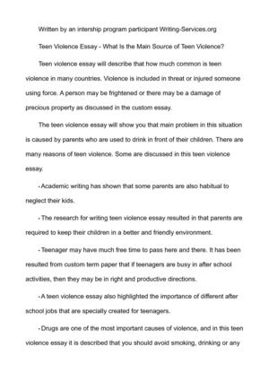 violence among teenagers essay