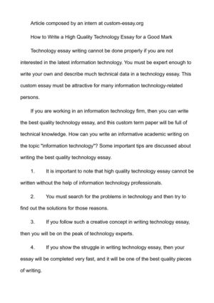 Essay On Class  Causal Essay Topics also Essay On Michelangelo Calamo  How To Write A High Quality Technology Essay For A Good Mark Examples Of A Satire Essay