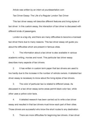 taxi driver essay the life of a regular london taxi driver taxi driver essay the life of a regular london taxi driver