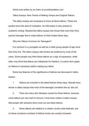 Essay For Health Tattoo Essays New Trends Of Making Unique And Original Tattoos Synthesis Essays also Health Care Essay Calamo  Tattoo Essays New Trends Of Making Unique And Original  Apa Sample Essay Paper