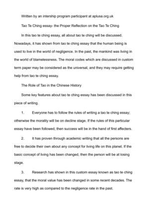 Environmental Health Essay Tao Te Ching Essay The Proper Reflection On The Tao Te Ching Essay On Science And Religion also Definition Essay Paper Calamo  Tao Te Ching Essay The Proper Reflection On The Tao Te Ching High School Reflective Essay Examples