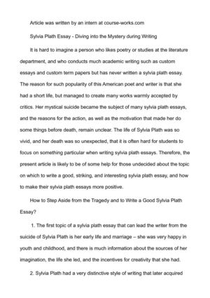 Calamo  Sylvia Plath Essay  Diving Into The Mystery During Writing Sylvia Plath Essay  Diving Into The Mystery During Writing Collaborative Writing Online also English Composition Essay  Essay On Business Ethics