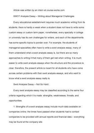 swot analysis essay