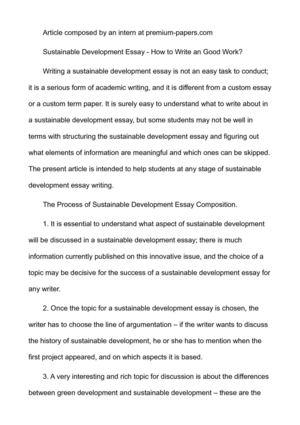 essay writing on sustainable development